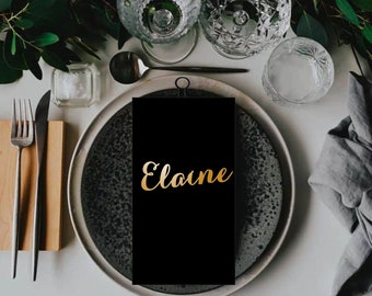 """Place Name  Gold Place Name Wooden Wedding Place Name Wedding Place Setting-Please Enter your phone number in the """"NOTE to the seller"""""""