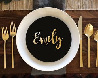 "Sale Place Name  Gold Place Name Wooden Wedding Place Name Wedding Place Setting-Please Enter your phone number in the ""NOTE to the seller"""
