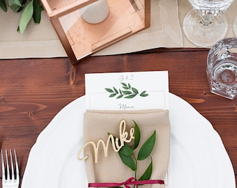 """Wedding Place Name-  Gold Place Name -Wooden Wedding Place Name- Place Setting -Please Enter your phone number in the """"NOTE to the seller"""""""