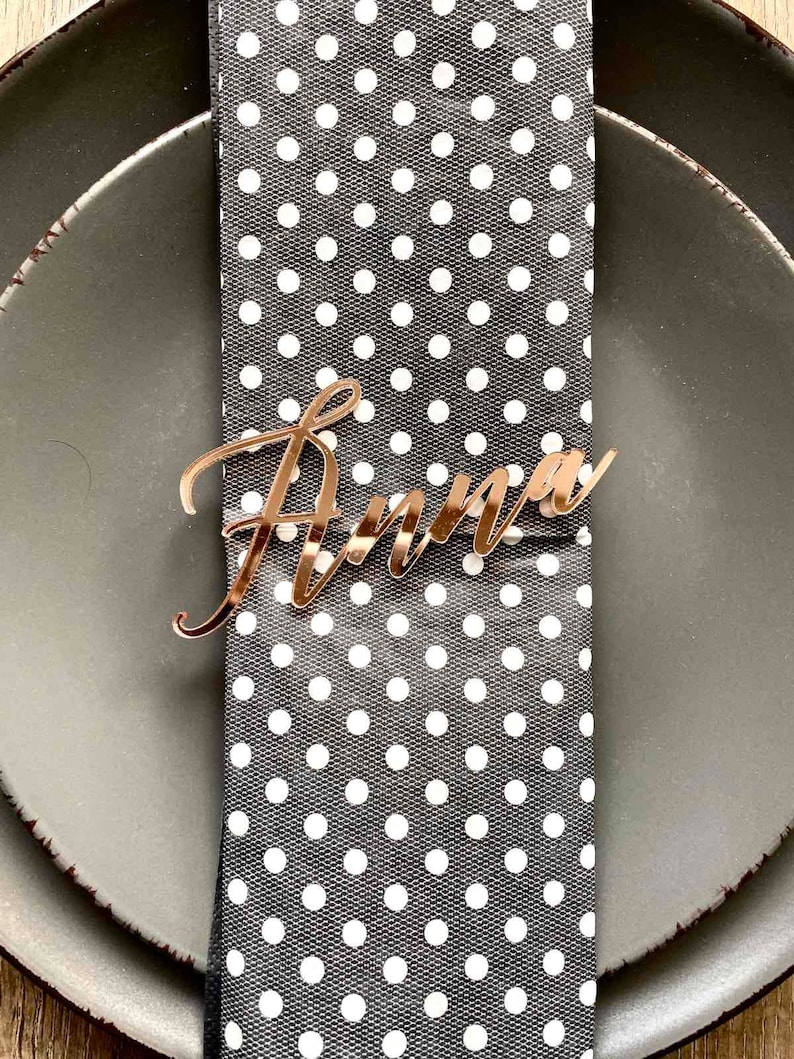 Rose gold mirror acrylic personalized wedding laser cut name place cards for guests for wedding or party table place name card