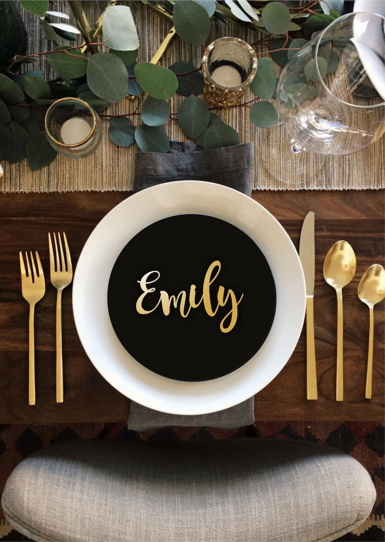 Wedding Place Cards Gold Place Name Wooden  Place Name image 0