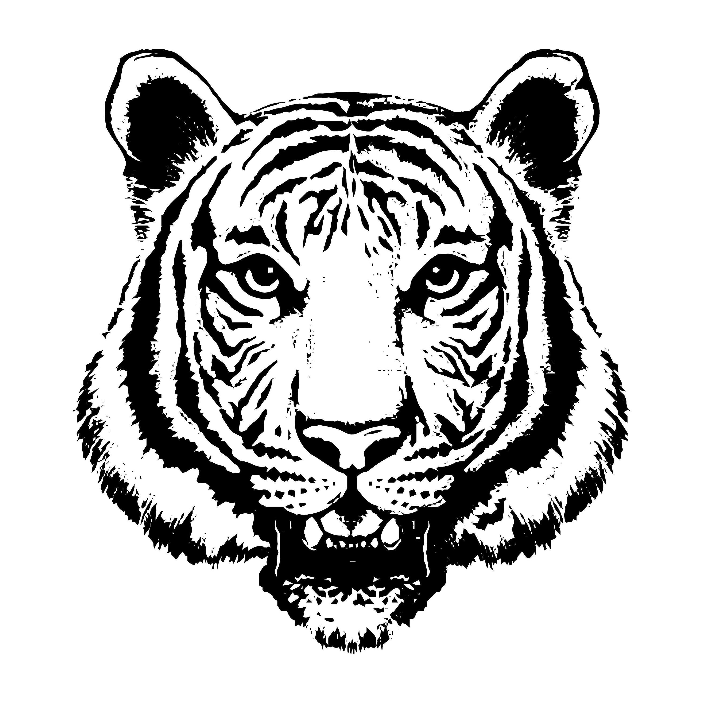 Тату с тигром черно белая картинка