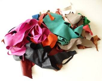 Soft MULTI-COLOURED leather scraps PORT INCLUDED