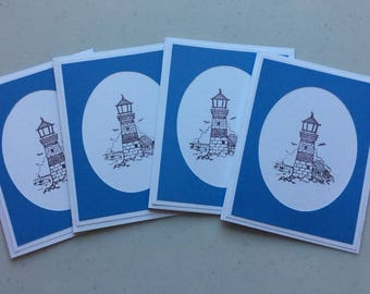 Set of 4 Blank Notecards - Lighthouse