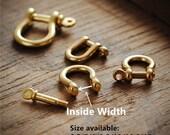 Brass Shackle Solid Brass U Lock Clasp With Screw Rod for Leatherwork,Leather Keychain Hook,Leather Bracelet Findings,U-Spange mit Stange