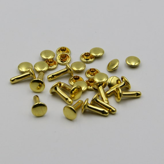 BRASS Hammer Drive Rivets,Double Cap Rivets 6x8mm For Leather Craft