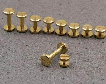 Handgemachte Lederhandwerk Schrauben Messing / Edelstahl Material Runde und flache Form Twists