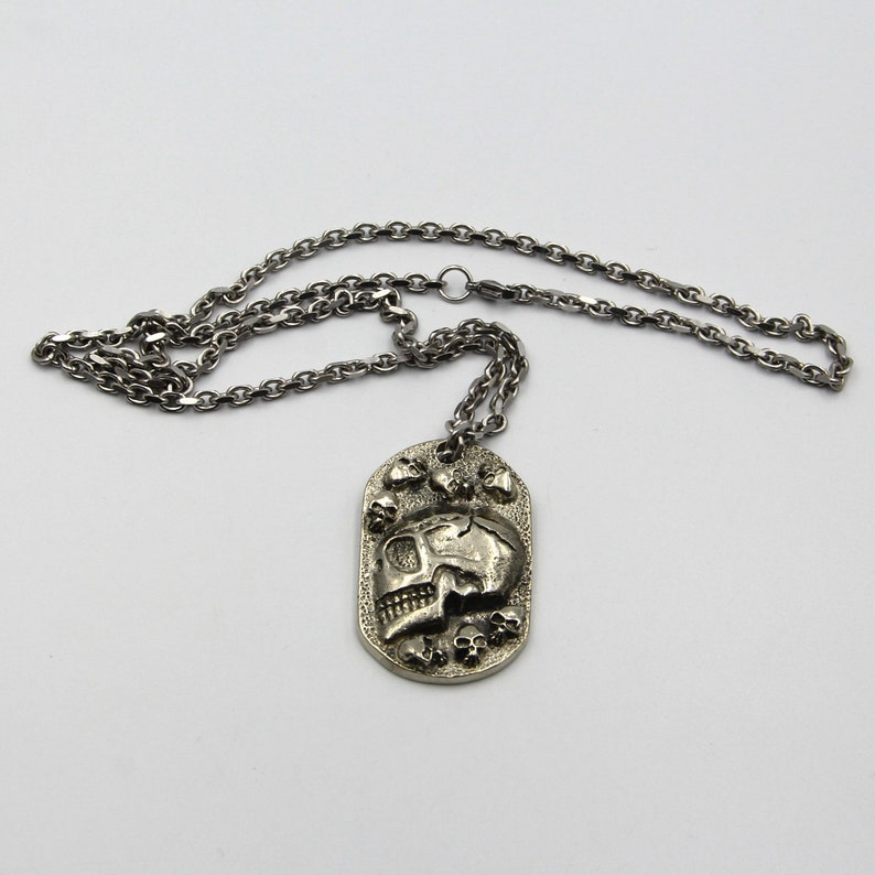 Stainless Cable Chain Silver Necklace Skull Pendant