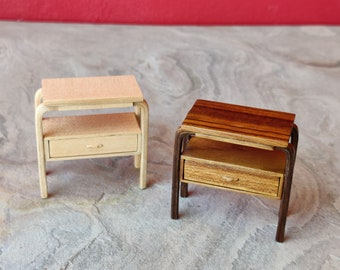 Miniature auxiliary table, replica of Alvar Aalto's radio stand. Made in 1:12 scale for dollhouse collectors and design lovers