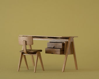 Mid century desk based on the Hille Desk. Handmade miniature in 1:12 scale for dollhouses and collectors