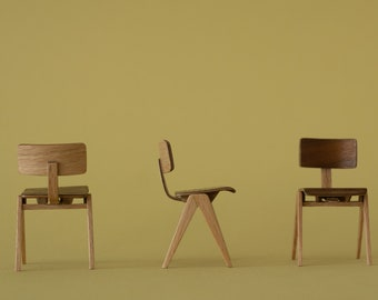 Mid century chair based on the Hillestack chair. Handmade in 1:12 scale - Miniature and dollhouse collectors