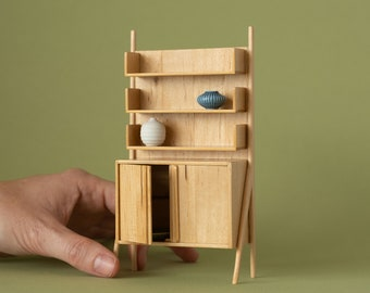 Miniature high cabinet in birch wood - handmade in 1:12 scale. Ideal for design lovers and for miniature and dollhouse collectors