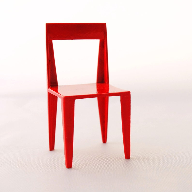 Red chair in lacquered birch  Handmade in 1:12 scale - for miniature  enthusiasts and dollhouse collectors
