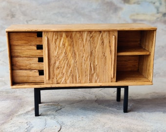 Miniature small sideboard made in 100 years old oak and with ebony details. 1:12 scale. For dollhouse and design lovers