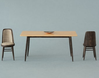 Modern ash miniature table. Legs black dyed. Handmade in 1:12 scale. Ideal for dollhouse collectors and design lovers
