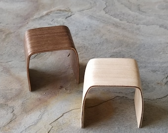 Miniature bent wood stool. In walnut or..... 1:12 scale for dollhouse lovers and miniature colectors