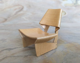 Miniature chair based on the GJ Bow Chair (1963) in bent wood. Ideal for dollhouse lovers and design collectors