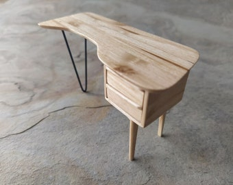 Miniature modern desk in olive wood. 1:12 scale. Ideal for dollhouse collectors and design lovers