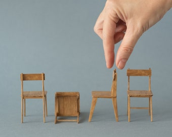 Modern oak chair. Hand made in 1:12 scale - ideal for miniature collectors and dollhouse enthusiasts