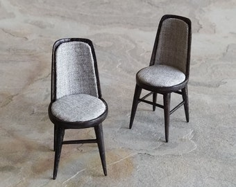 Miniature upholstered chairs in ash wood. Black dyed. Hand made in : scale. For dollhouse collectors and design lovers
