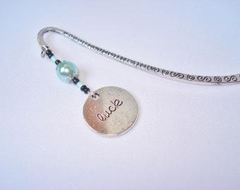 """Tibetan silver bookmark, pearls and """"luck"""" charm"""