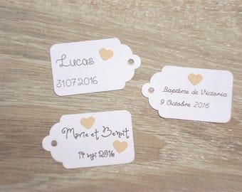 10 tags heart - wedding, baptism, birthday-customize