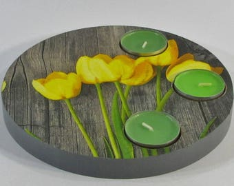 Round yellow tulips decor wooden candle holder