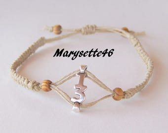 """Bracelet woven linen with his lucky """"13"""" connector"""