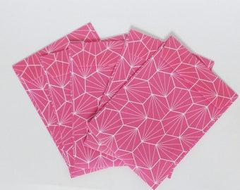 Set of 5 envelopes Fuchsia Origami - envelopes design - gift - wrapped jewelry
