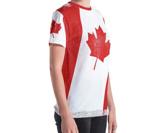 Distressed Texture Canadian Flag Women's T-shirt
