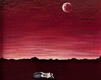 """Oil on canvas """"Pinned down"""" painting 24 x 30 - Oil on canvas surrealist art"""