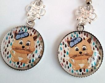 Cat glass cabochon earrings