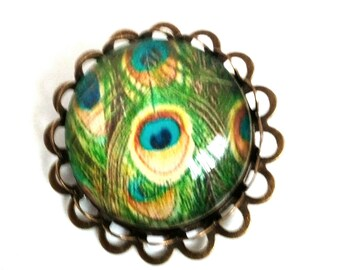 PIN model Peacock glass cabochon