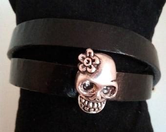 Leather Bracelet European double row skull
