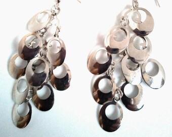 Handmade earrings with metal drops
