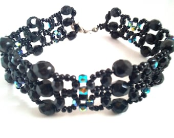 Handmade bracelet with seed beads and faceted