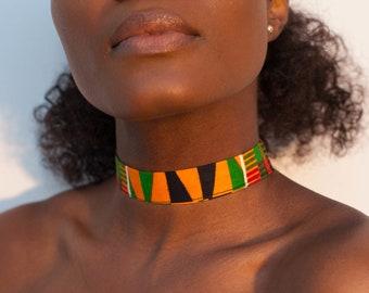African Print Ankara Kente Necklace Choker neck Piece WT String Or Chain Choose