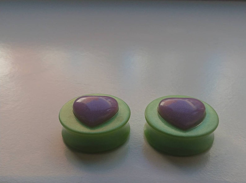 Green pearlescent with Big Heart embellishments resin plugs *PAIR*