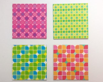 set of 4 magnets, vintage patterns / 6.5 cm