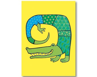 card crocodile postcard, reproduction of painting