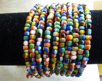 Wrap Around  Memory Wire Beaded Bracelet 10 Row Bright Coloured Seed Beads