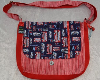 Bag buttoned vehicles red/blue