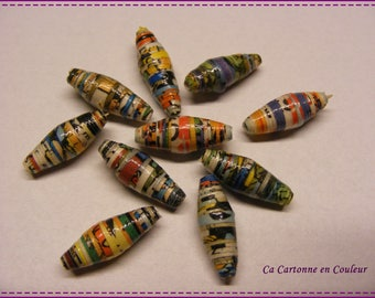 Set of 10 multicolored paper beads