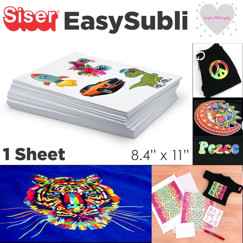 image about Printable Vinyl Htv named Siser EasySubli 8.4 x 11 Sheets / Printable Vinyl / Slice and