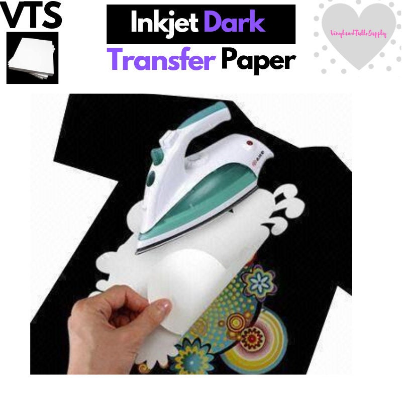 image about Printable Iron on Fabric named Inkjet Iron-Upon Warmth Move Paper, For Darkish cloth, 8.5 x