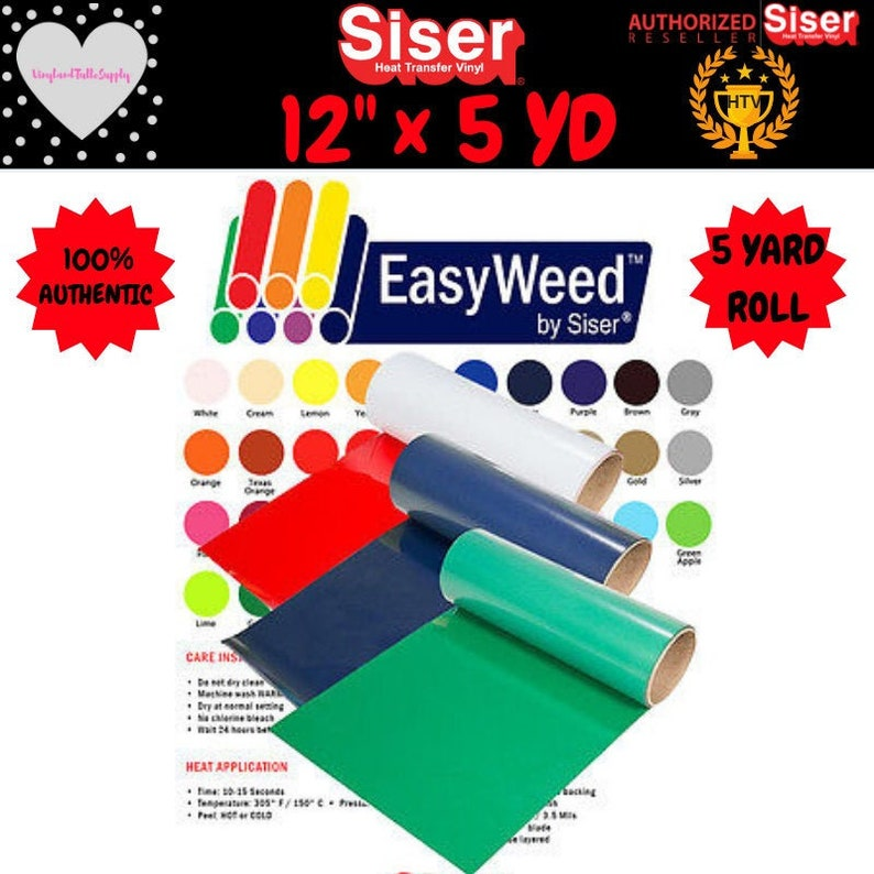 "SISER EASYWEED Fluorescent Heat Transfer Vinyl SELECT COLORS 12/"" x 15/""  7 rolls"