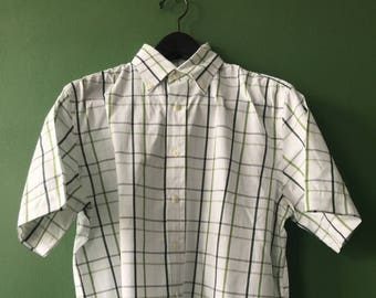 M&S green check short sleeve shirt