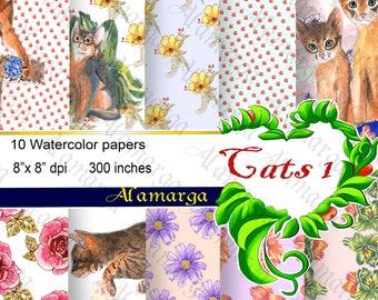 Paper Pack  Watercolor Digital Scrapbooking Papers Cats 1 For 1 euro,Digital Paper Pack,Print Cat,Paper Cat,Printable,Animal,Nature,Flowers