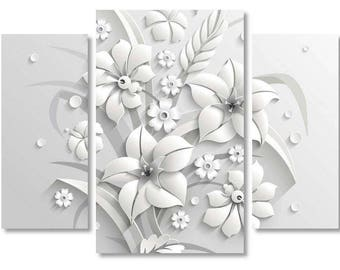 3d flower wall art etsy extra large 3d flowers white flowers canvas print flowers art style 3d canvas print 3d flowers art beautiful wall art mightylinksfo