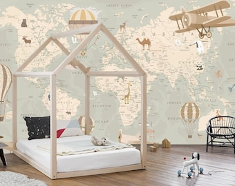 nursery wall mural etsywallpaper world map with animals,nursery,wall mural,travel, large photo, adhesive vinyl
